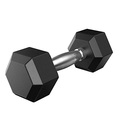 SU&YU Dumbbell, 5-50 lbs (Pack of 2/1), Barbell Set of 2 Hex Rubber Dumbbell with Metal Handles Pair of 2 Heavy Dumbbells (2x20lbs) Black