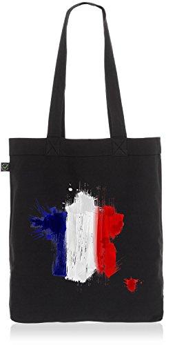 CottonCloud Frankreich Baumwoll-Beutel Einkaufs-Tasche France Flagge WM EM Sport Festival Fahne Uni Bag, Farbe:Schwarz