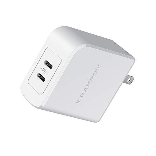 Rampow PD充電器 45W USB-C急速充電器 Type-c【PD対応/2ポート/PSE認証/保証付き】 iPhone 11/11 Pro/11 Pro Max、Galaxy S8/S9/S10/S10+、iPad Pro、MacBook Air、MacBook Pro、Nintendo Switch その他USB-C機器対応 白