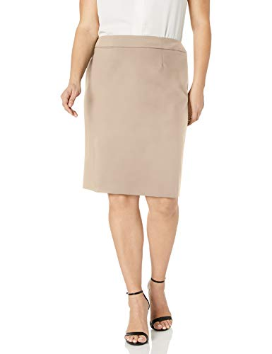 Calvin Klein Women's Straight Fit Suit Skirt (Regular and Plus covid 19 (Taupe Suit Separates coronavirus)
