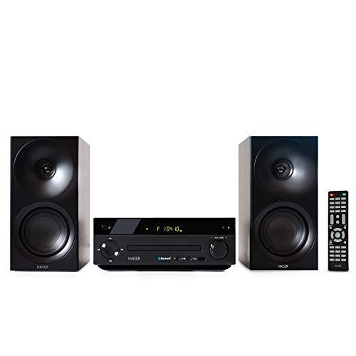 HAISER HSR 118 Chaine stéréo 40 W RMS avec lecteur CD • Bluetooth • USB • Enceintes • Radio FM • Système stéréo compact • Chaîne HiFi • Mini chaîne stéréo
