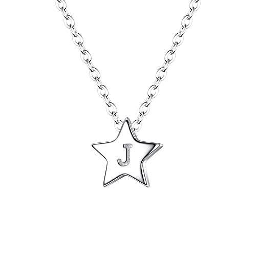 Collar de Mujer Dama - Clearine Collar de Plata 925 Gargantilla Estrella Estilo Minimalista Tono Plateado con Letra J y Corazón Amor Colgante de Mujer para Regalo Boda