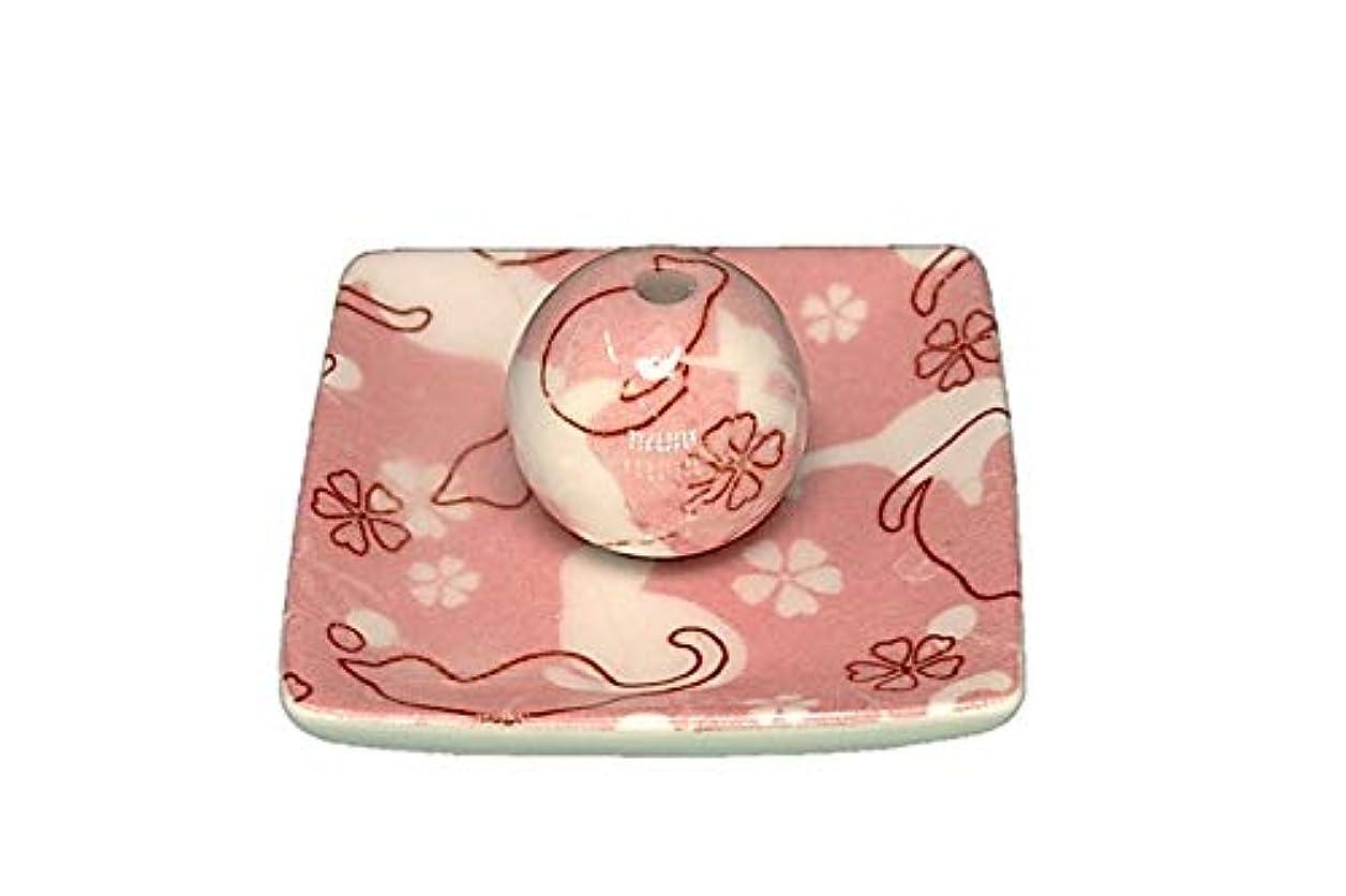 しばしば視力ハッチネコ ランド ピンク 小角皿 お香立て 陶器 ねこ 製造 直売