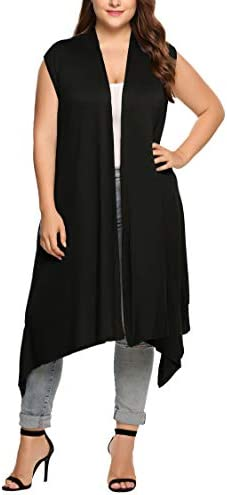 IN VOLAND Womens Plus Size Sleeveless Cardigan Vest Long Duster Cardigan Open Front Asymetric product image