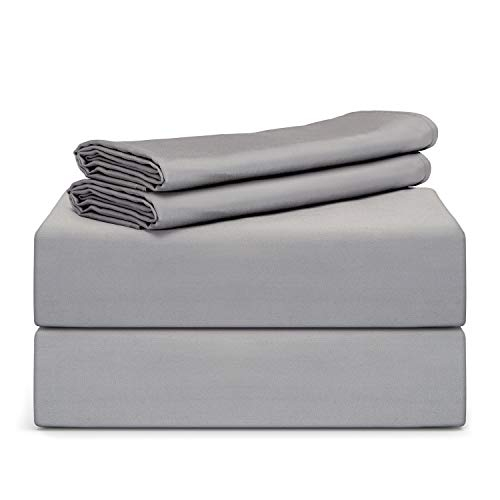 "TAFTS Bamboo Sheets Queen Size - 100% Pure Organic Viscose Bamboo Sheet Set - 400TC Bamboo Bed Sheets - 4 Pieces - 17"" Deep Pocket - Silk Feel, Cooling, Anti-Static, Hypoallergenic (Space Grey)"