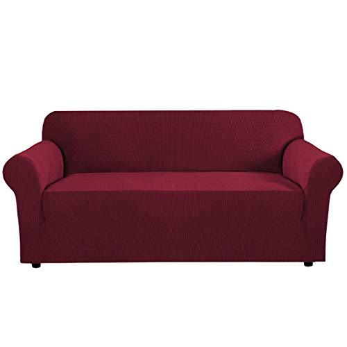 GD-TEX Bank Cover Stretch Sofa Cover met anti-slip schuimen, 1 stuk Sofa Slipcover voor woonkamer Meubelhoezen met elastische bodem Machine Wasbaar (Sofa Slipcover, Bourgondië)