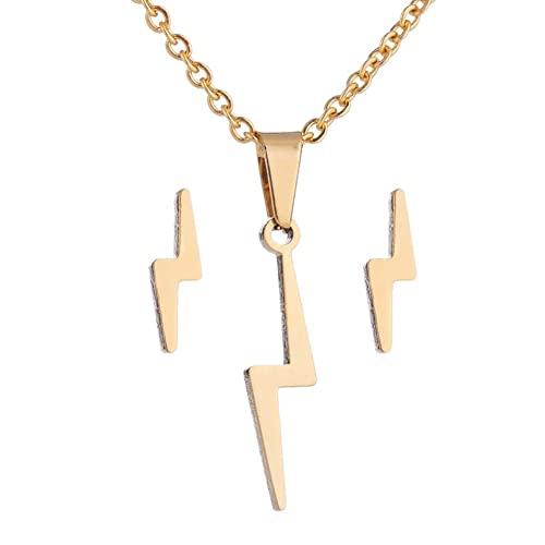 Pendientes De Collar Conjunto Lámparas De Acero Inoxidable Pendientes De Cadena De Cuello De Flash Conjunto De Collar Y Conjuntos De Pendientes Conjuntos De Joyas Para Mujeres (dorado)