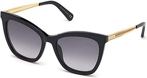 Roberto Cavalli RC 1112 01B - Gafas de sol, color negro brillante, color dorado y gris