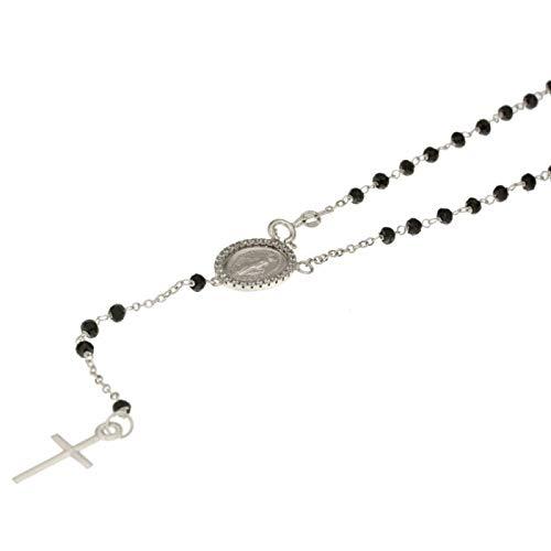 Collana Rosario In Oro Bianco 18kt 750/1000 Con Pietre Bianche E Nere Unisex