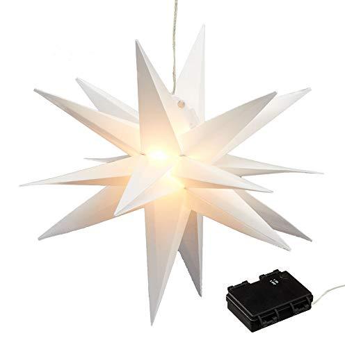 Weihnachtsstern beleuchtet mit Timer 35 cm - 15 LED - Weihnachts Fenster Deko Stern weiß für Innen und Außen