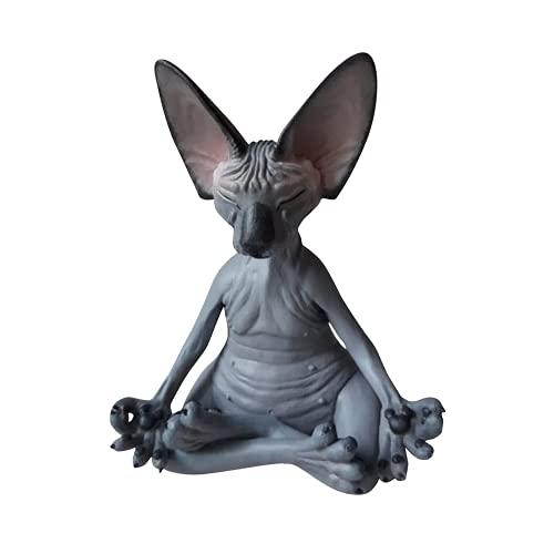 Balamii Sphynx Cat Meditate Thinking Cat Statue Meditating Thinking Cat Sphynx Hairless Cat Meditation Collectible Decor Art Sculptures Garden Statues Home Decor.