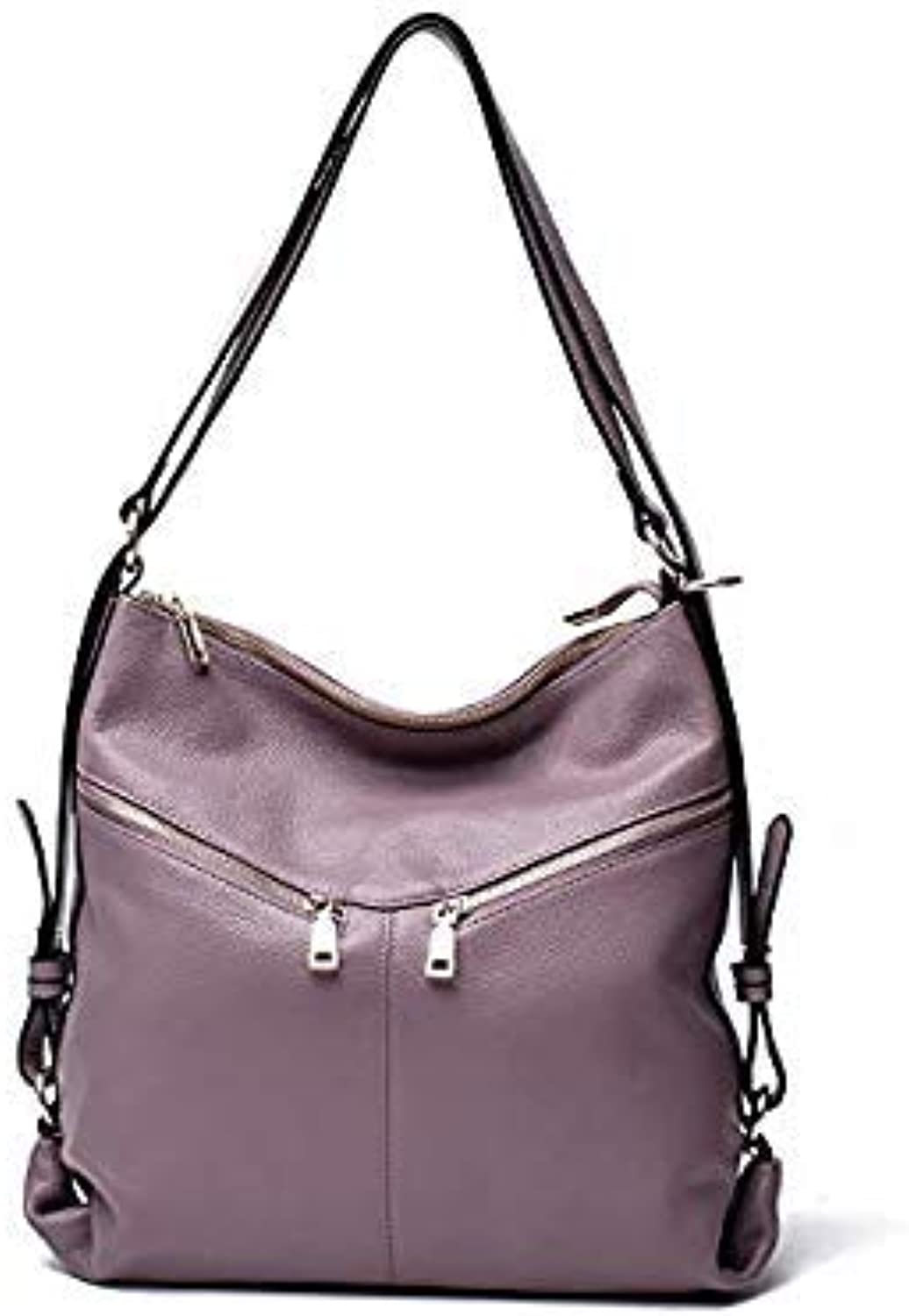 Bloomerang AODUX Top Genuine Leather Women Shoulder Bags Female Handel Handbags Real Leather Shopping Tote Messenger Bag Ladies Satchel color Taro Purple