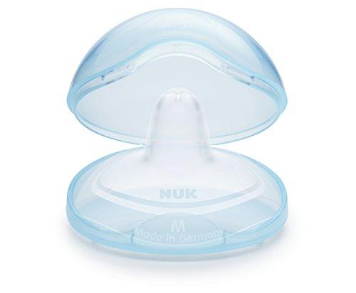 NUK 10107044 Brusthütchen zum Schutz empfindlicher Brustwarzen, inklusiv Schutzdose, 2 Stück, Größe M, transparent