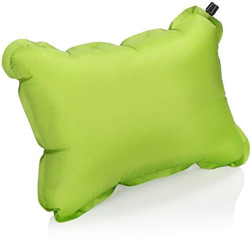 com-four Cuscino Seduta autogonfiabile con Tasca - Cuscino Gonfiabile Verde - Cuscino da Viaggio per Campeggio e Esterno - Cuscino da Spiaggia - 40 x 30 cm