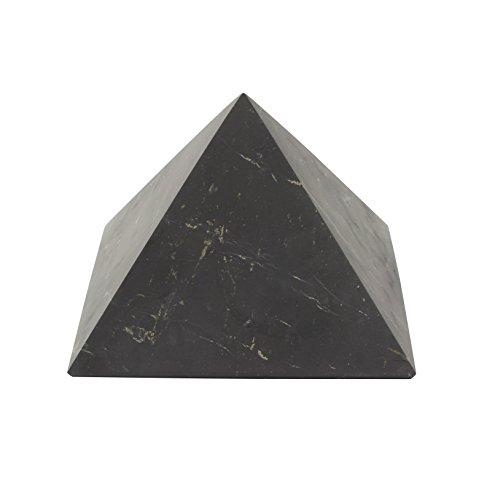 Heka Naturals Piramide di Shungite Non Lucidata 10 cm | Contiene Fullereni di Carbonio | Autentica Figura in Pietra di Shungite della Carelia, Russia | 10 cm Piramide Non Lucida