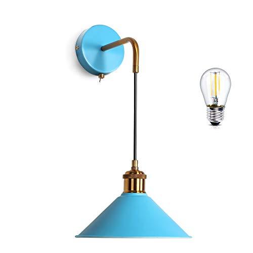 MantoLite Lampada Da Comodino Con Paralume a Cono a Sospensione Lampada da Comodino Con Luci da Parete Commutate Stile Nordico Adatto Per Lampade E27 Apparecchio in Metallo (Blu, Lampadina Inclusa)