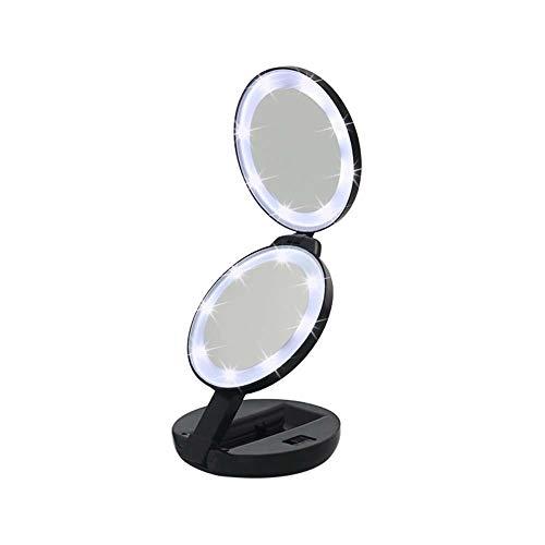 SYyshyin Lámpara de Escritorio Espejo De Maquillaje De Tres Caras con LED Negro Redondo Espejo De Luz De Doble Cara con Lupa Espejo Portátil Creativo 5X Dos Archivos