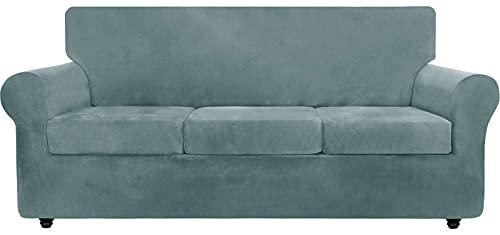 TYXL Samt Sofabezug mit separaten Kissenbezügen, für Wohnzimmer Hunde Katze Haustier Plüsch Liebessitz Couch Schonbezüge Elastischer Möbelschutz (4-Sitzer, Grau Blau)