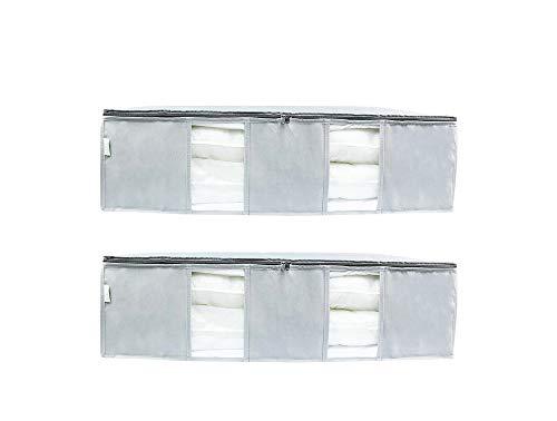 SOHFA 2er Set Unterbettkommode | aus atmungsaktiven Vlies für Bezüge, Kleidung oder Decken | 2 * 90cm x 50cm x 25cm Inhalt:225l
