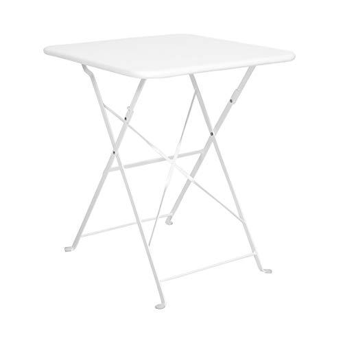 Butlers Daisy Jane Balkontisch in Weiß 58x58x71 cm - Klapptisch in Retro-Optik - Gartentisch für Balkon und Terrasse