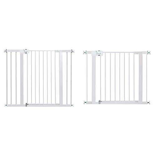 Safety 1st Easy Install Extra Tall and Wide Baby Gate with Pressure Mount Fastening, Pack of 1 with Safety 1st Easy Install Metal Baby Gate with Pressure Mount Fastening (White), Pack of 1