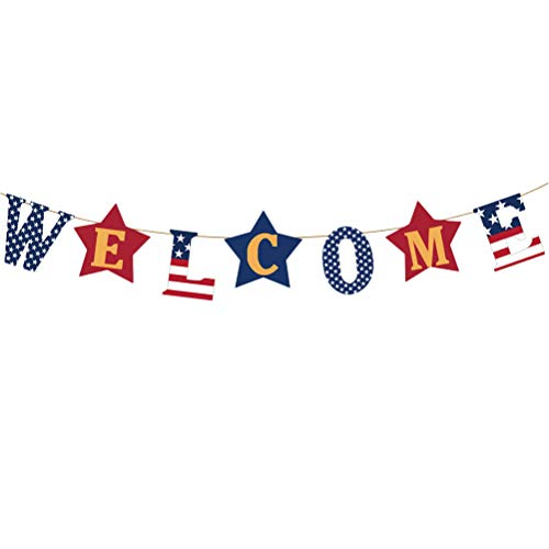 ABOOFAN Banner de arpillera América Independence Day Welcome Garland Bunting Memorial Day Banner Photo Prop SignGraduation Party Favors