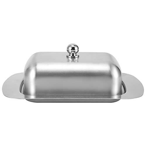 Plato de mantequilla Ladieshow Plato de postre de acero inoxidable plateado Caja de pan de queso con tapa de asa Accesorios de cocina Diseño de doble aislamiento