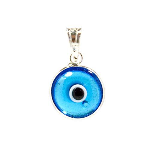 Ciondolo di fascino in vetro con occhio di leone da 10 mm in argento sterling 925-14 colori disponibili (Transparent Light Blue)