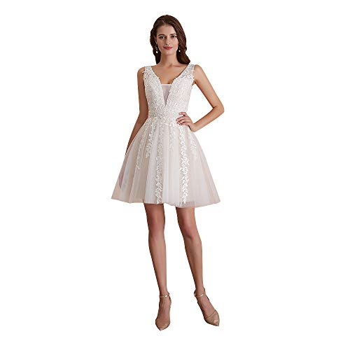 Homecoming Dress Short Lace Applique Beaded Formal Prom Dress V Neck Straps Bridesmaid Gowns Ivory US 14
