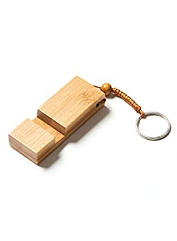 VULKIT Wooden Cell Phone Stand Handheld Non-Contact Door Opener Smartphone Desk Stand Holder with Keychain for iPhone iPad Mini Android