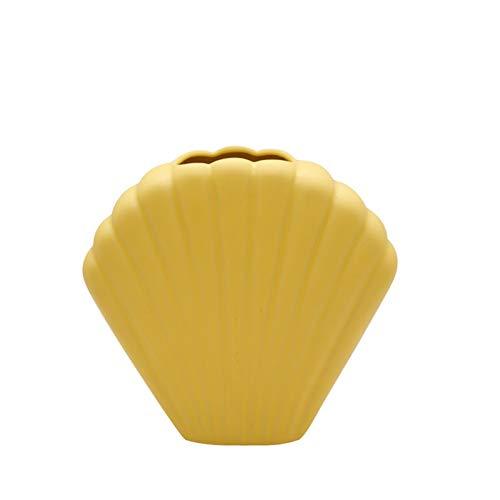 Jarrón para Flores Modelo de Concha Jarrón de cerámica Ornamentos artesanales Cabinete de Vino Mesa de Comedor Creative Home Desktop Decoration (Color : Yellow, Size : Medium)