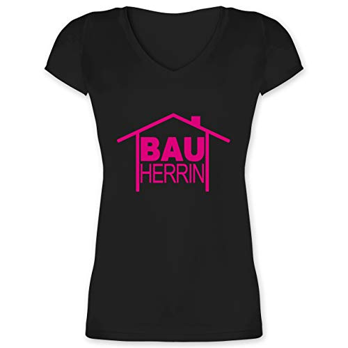 Sprüche - Bauherrin Heimwerker - XXL - Schwarz - werkzeugset pink Frauen - XO1525 - Damen T-Shirt mit V-Ausschnitt