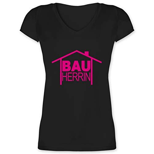 Sprüche - Bauherrin Heimwerker - XL - Schwarz - Pinker akkuschrauber - XO1525 - Damen T-Shirt mit V-Ausschnitt