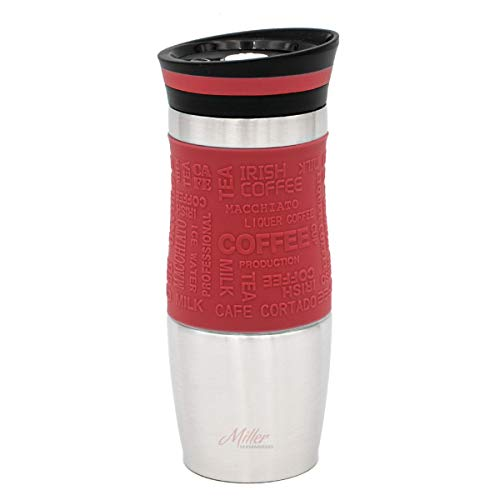Thermobecher, Kaffeebecher, Isolierbecher, 350 ml, retro colors, Vintage Design (rot)