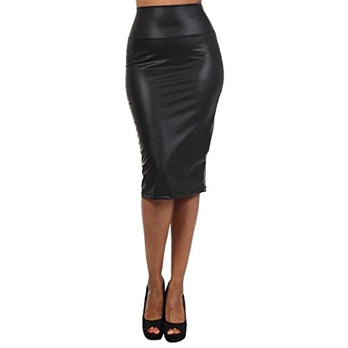 West See Frauen Rock Bleistift Bleistiftrock High Waist Bodycon Elastisches Taillenband Midi Rock (XL, Schwarz)