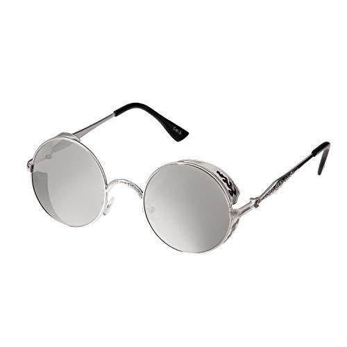 Ultra Silber Verspiegelt Steampunk Sonnenbrille Retro Damen Herren Rund Rave Gothic Vintage Victorian Kupfer UV400 Schutz Metall Unisex
