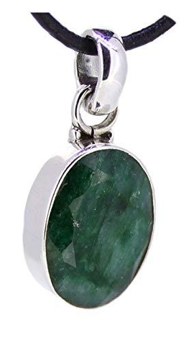 Smaragd Anhänger facettiert in 925er Sterling Silber, Edelstein Kettenanhänger