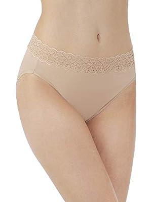 Vanity Fair Women's Flattering Lace Panties with Stretch, Hi Cut - Cotton - Beige, 8