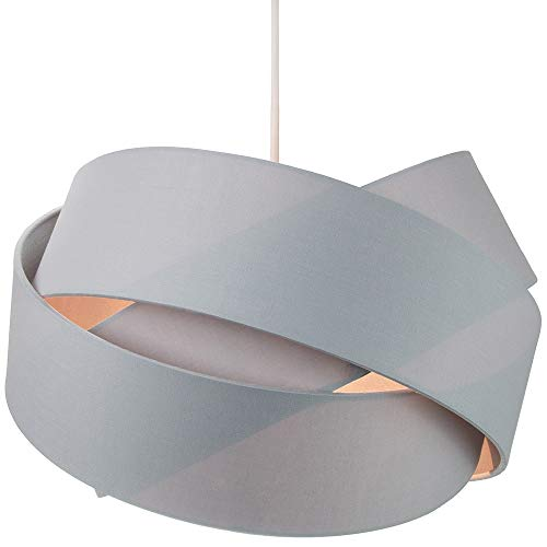 Contemporary Triple Ring Grey Cotton Fabric Pendant Lamp Shade with Matching Grey Satin Fabric Inner - 34cm Diameter | 60w Maximum | Unique Designer Product by Happy Homewares