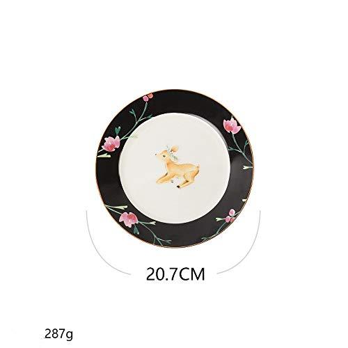 KAMIER 8-Zoll-Keramik runden Frühstückssteak Steak Teller Salatteller kann in jedem Familientreffen verwendet Werden, re