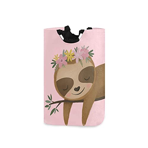 Spetlye Cute Baby Sloth Cesto de la Ropa Collapsible Ropa Sucia Fabric Laundry Bin Large Dirty Clothes Basket with Durable Handles for Kid Room Toy Bin Bathroom Clothing Organizer