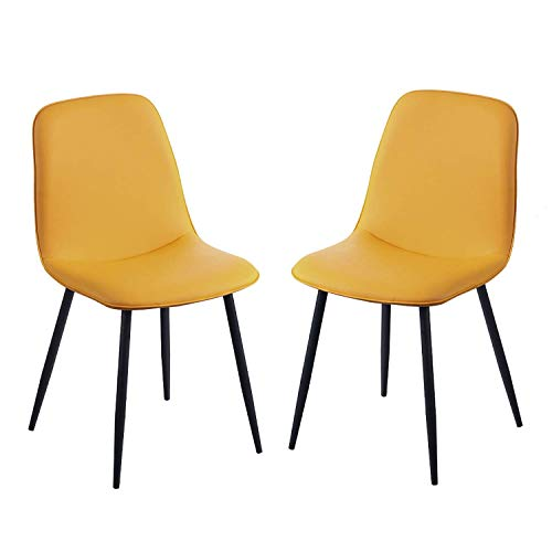 Dining Chairs Sturdy Metal LegsRetro Lounge Side Chairs Soft PU Leather Upholstered Seat Cushioned Pad Kitchen Cafe Office Reception (Color : Yellow, Size : 2pcs)