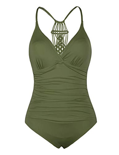 Firpearl Women's Halter One Piece Swimsuits Braid Macrame Ruched Tummy Control Swimwear Olive Me US10