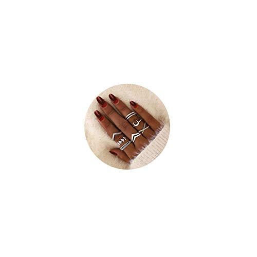 7pcs Silver Star Moon Knuckle Ring Set for Women Girls Vintage Stackable Midi Finger Rings Set