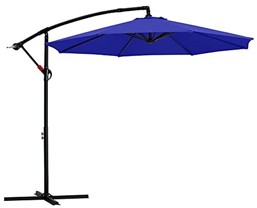 MASTERCANOPY 9FT Patio Umbrella,Outdoor Offset Cantilever Umbrella with Crank and Cross Base (Blue)