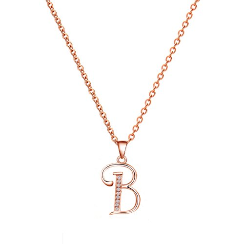 Paialco 14K Rose Gold Plating Sterling Silver Initial Alphabet B Pendant Necklace 18'