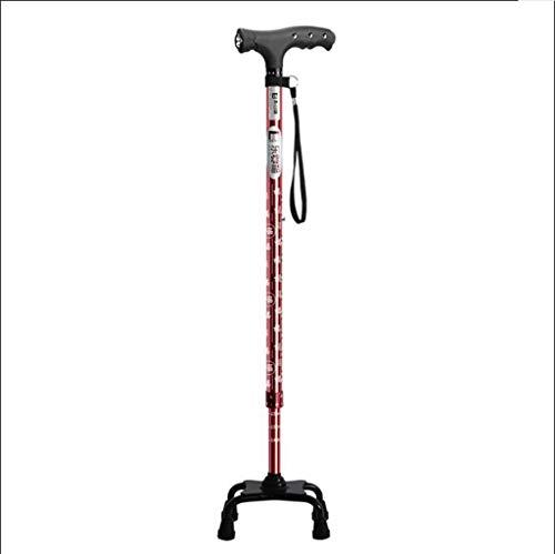 AF Bastón para Caminar, muletas Estampadas, aleación de Aluminio con una Base de atención médica de 4 Patas para el Anciano