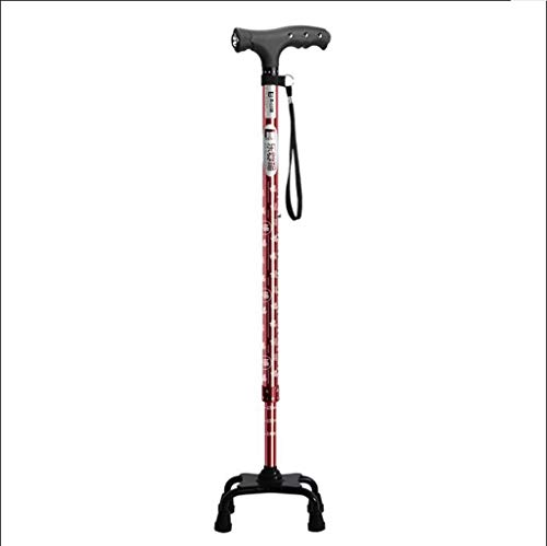 AF Bastón para Caminar, muletas Estampadas, aleación de Aluminio con una Base de atención médica de 4 Patas para el Anciano ✅