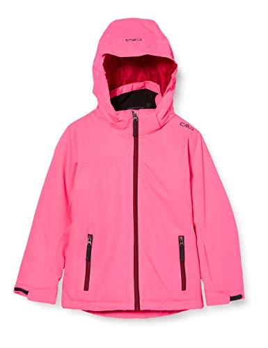 CMP Mädchen Jacke Skijacke mit abzipbarer Kapuze, Pink Fluo, 140, Pink Fluo