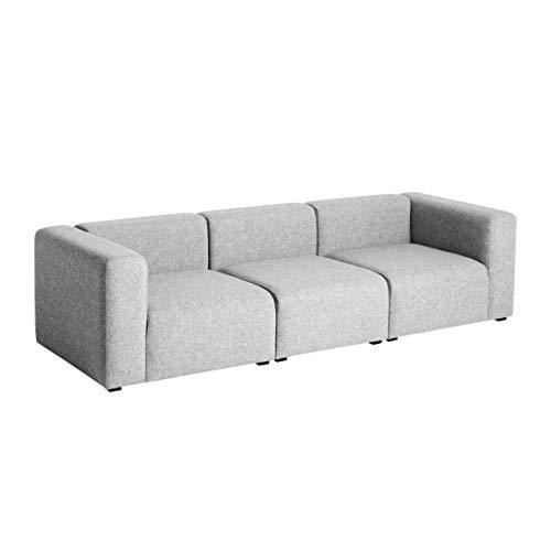 HAY Mags 3-Sitzer Sofa 268,5x95,5x67cm, hellgrau Stoff Hallingdal 130 BxHxT 268,5x67x95,5cm Füße Kiefernholz schwarz gebeizt